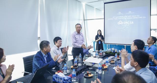 Ông Nguyễn Trung Chính, Chủ tịch/Tổng Giám đốc Tập đoàn CMC phát biểu tại lễ ra mắt dịch vụ CMC CA